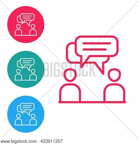 Red Line Two Sitting Men Talking Icon Isolated On White Background. Speech Bubble Chat. Message Icon