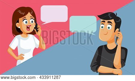 Husband And Wife Talking On The Phone Vector Cartoon Illustration
