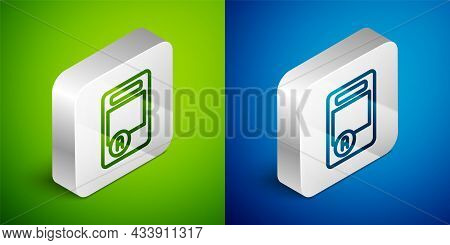 Isometric Line Exam Sheet With A Plus Grade Icon Isolated On Green And Blue Background. Test Paper,