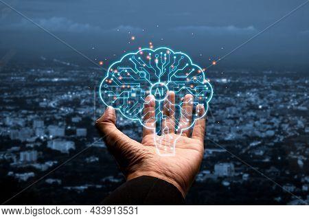 Artificial Intelligence Ai, Businessman Hand Holding Holographic Brain Artificial Intelligence (ai),