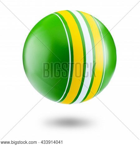 Colorful Rubber Inflatable Ball Isolated On A White Background. Isolate Of A Childrens Ball With A S