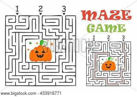 Rectangular Halloween Maze Labyrinth Game For Kids. Labyrinth Logic Conundrum. Three Entrance And On