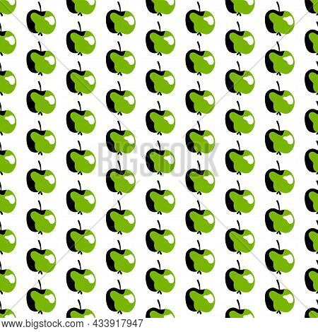 Green Apples Fruit Dot Seamless Pattern Vector. Regular Simple Pattern With Green Stylized Fruits Is