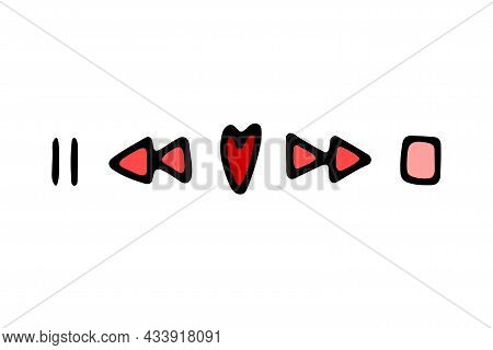 Doodle Valentines Day Musical Red Sign. Hand-drawn Love Song Symbol On White Background. Heart-shape