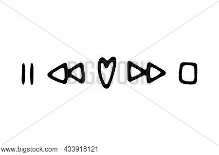 Doodle Valentines Day Musical Sign. Hand-drawn Love Song Symbol On White Background. Heart-shaped Re