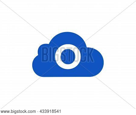 Cloud Logo Design On O Letter. Letter O Cloud Logo Vector Template With White Background