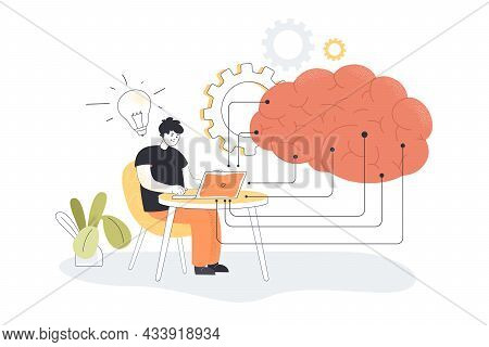 Programmer Learning About Artificial Intelligence On Computer. Huge Brain With Digital Data, Cloud S
