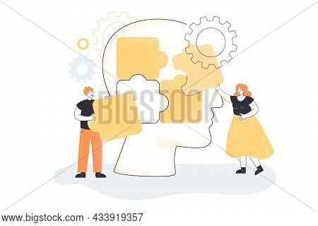 Team Of People Putting Puzzle Pieces Of Huge Head Together. Man And Woman Creating Personality Flat