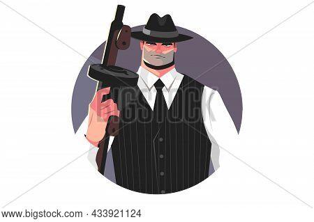 Mafia Gangster With Machine Gun Vector Illustration. Male Gang With Handgun. Bearded Evil Killer Wit
