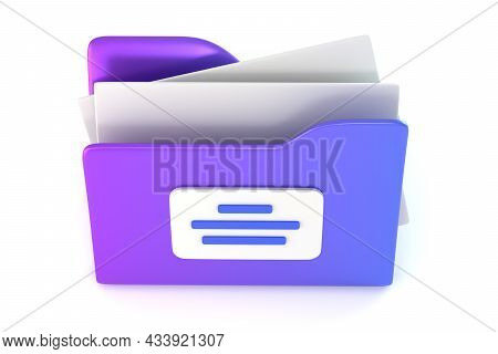 Folder For Storage Documents Top View 3d Rendered Illustration. Purple Icon With Lists Isometry. Arc