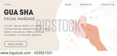 Gua Sha Scraping Massage Tool Holding By Hand. Natural Pink Rose Quartz Stone Scraper. Facial Massag