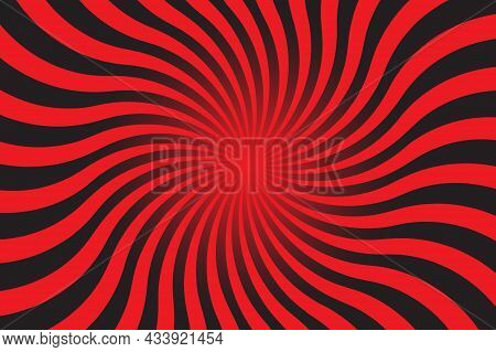 Abstract Red And Black Background With Sun Ray. Summer Vector Illustration For Design