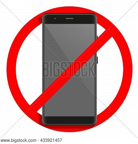 Cell Telephone Warning Stop Sign Icon. Push Button Phone Turn Off. Vector Illustration