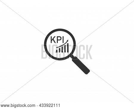 Analysis, Magnifying Glass, Kpi Icon. Vector Illustration. Flat Design.