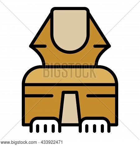 Egyptian Sphinx In Front Icon. Outline Egyptian Sphinx In Front Vector Icon Color Flat Isolated