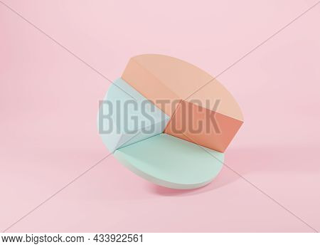 Donut Chart Graph Growth Diagram Infographics Elements Analysis On Pink Background, Business Info Em