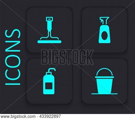 Set Bucket, Rubber Cleaner For Windows, Cleaning Spray With Detergent And Antibacterial Soap Icon. B