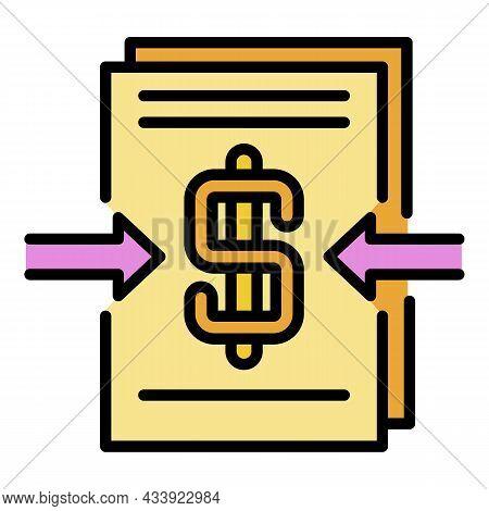 Cash Profit Icon. Outline Cash Profit Vector Icon Color Flat Isolated