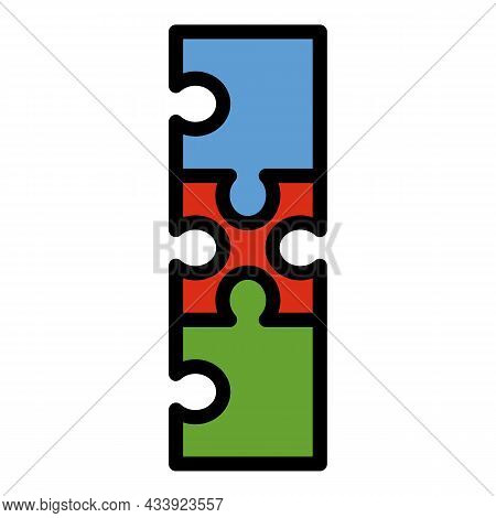Puzzle Strategy Icon. Outline Puzzle Strategy Vector Icon Color Flat Isolated