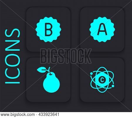 Set Atom, Exam Paper With Incorrect Answers, Sheet Plus Grade And Pear Icon. Black Square Button. Ve