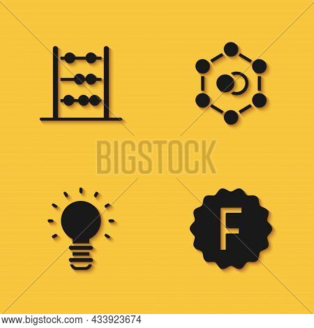 Set Abacus, Exam Paper With Incorrect Answers, Creative Lamp Light Idea And Molecule Icon With Long
