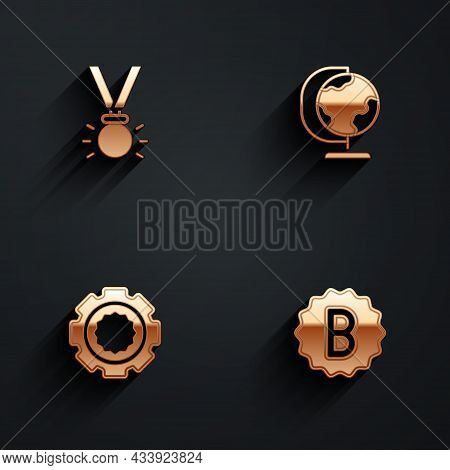Set Medal, Earth Globe, Gear And Exam Paper With Incorrect Answers Icon With Long Shadow. Vector