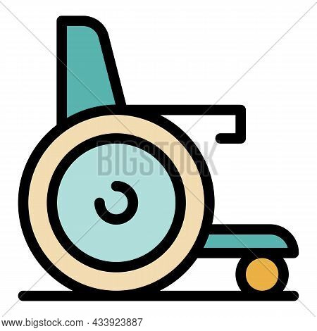 Compact Wheelchair Icon. Outline Compact Wheelchair Vector Icon Color Flat Isolated