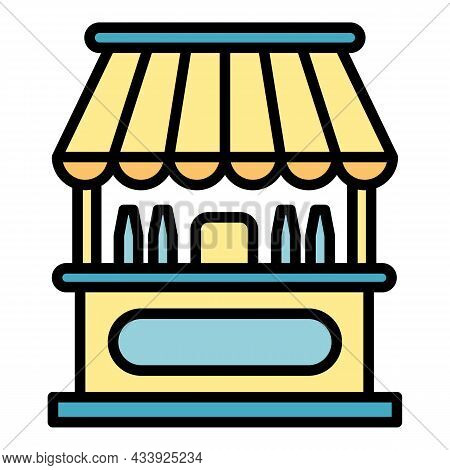 Milk Stall Icon. Outline Milk Stall Vector Icon Color Flat Isolated