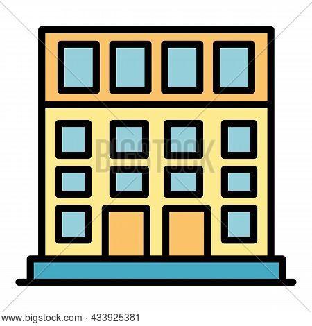 School Building Icon. Outline School Building Vector Icon Color Flat Isolated