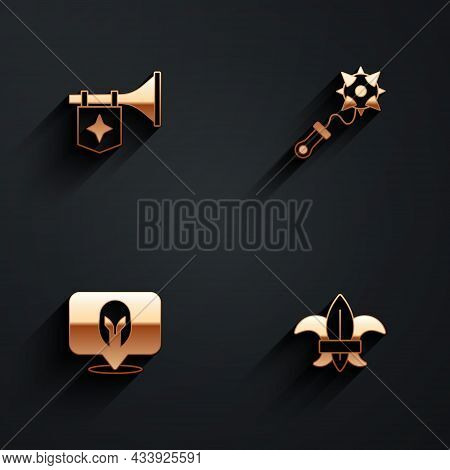 Set Trumpet With Flag, Mace Spikes, Medieval Helmet And Fleur De Lys Or Lily Flower Icon With Long S