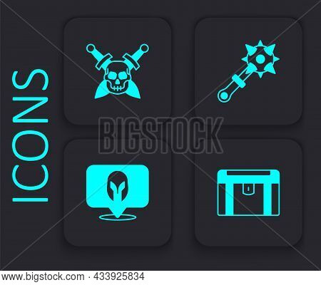 Set Antique Treasure Chest, Skull With Sword, Mace Spikes And Medieval Helmet Icon. Black Square But