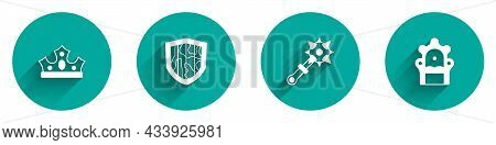 Set King Crown, Shield, Mace With Spikes And Medieval Throne Icon With Long Shadow. Vector