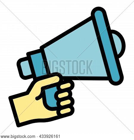 Megaphone In Hand Icon. Outline Megaphone In Hand Vector Icon Color Flat Isolated