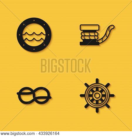 Set Ship Porthole, Steering Wheel, Nautical Rope Knots And Marine Bollard With Icon With Long Shadow