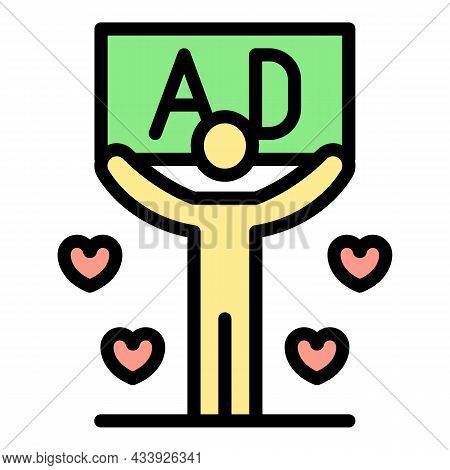 Favorite Ad Icon. Outline Favorite Ad Vector Icon Color Flat Isolated
