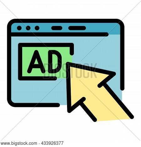 Internet Advertising Icon. Outline Internet Advertising Vector Icon Color Flat Isolated