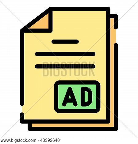 Advertising Documents Icon. Outline Advertising Documents Vector Icon Color Flat Isolated