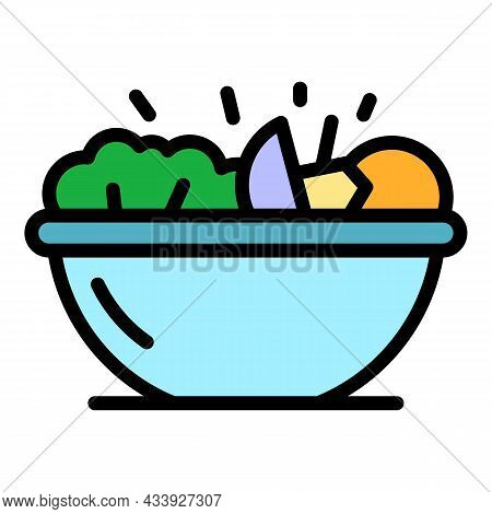 Greek Salad Icon. Outline Greek Salad Vector Icon Color Flat Isolated