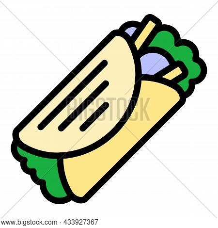 Kebab Icon. Outline Kebab Vector Icon Color Flat Isolated