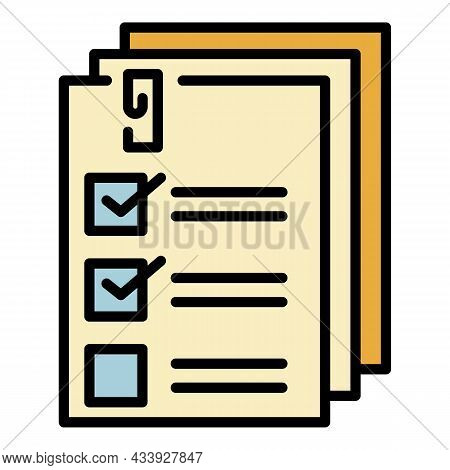 List Forms Icon. Outline List Forms Vector Icon Color Flat Isolated