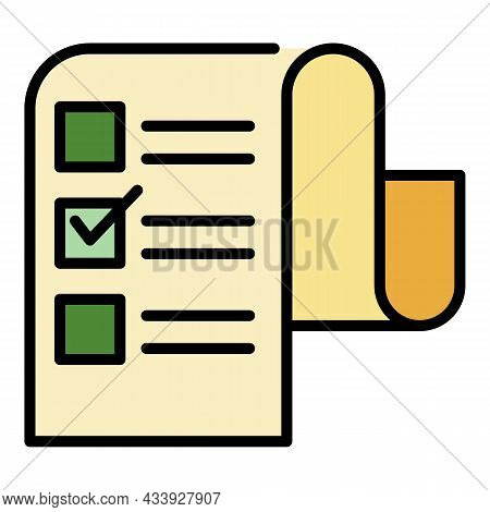 Long Checkbox List Icon. Outline Long Checkbox List Vector Icon Color Flat Isolated
