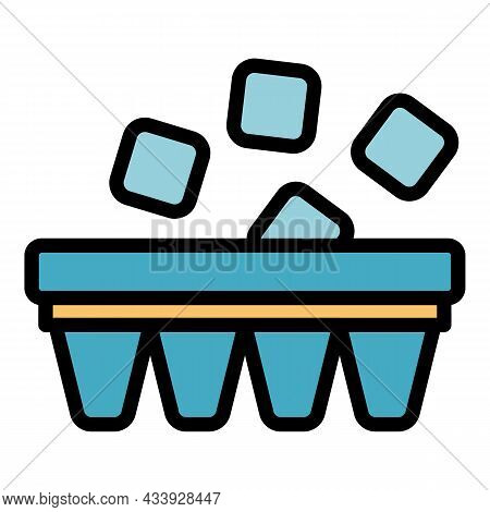 Ice From The Refrigerator Icon. Outline Ice From The Refrigerator Vector Icon Color Flat Isolated