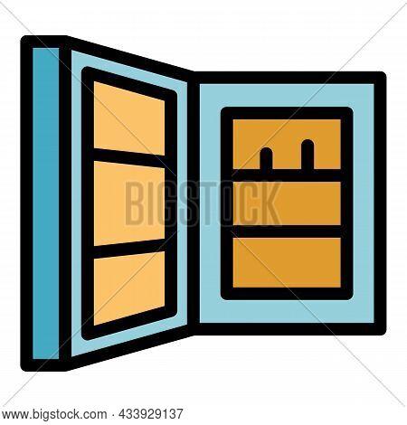 Open Refrigerator Door Icon. Outline Open Refrigerator Door Vector Icon Color Flat Isolated