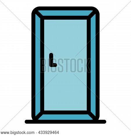 Domestic Refrigeratoricon. Outline Domestic Refrigerator Vector Icon Color Flat Isolated