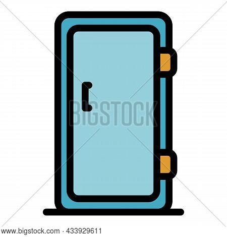 Single Door Refrigerator Icon. Outline Single Door Refrigerator Vector Icon Color Flat Isolated