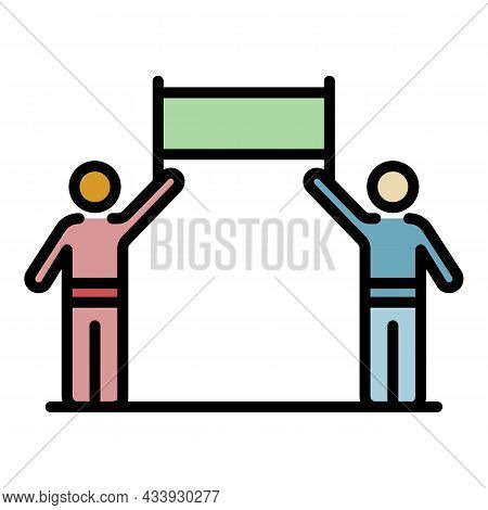 Two People Protest Banner Icon. Outline Two People Protest Banner Vector Icon Color Flat Isolated