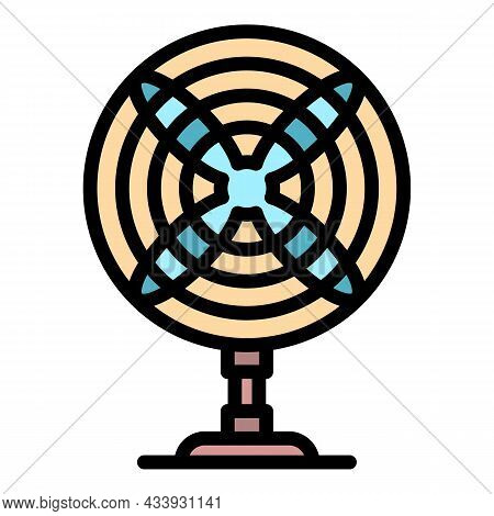 Front View Desk Fan Icon. Outline Front View Desk Fan Vector Icon Color Flat Isolated