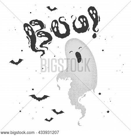 Happy Halloween Vector Illustration With Hand Drawn Cute Ghost And Lettering Boo Isolated On White B