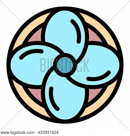 Fan Propeller Icon. Outline Fan Propeller Vector Icon Color Flat Isolated