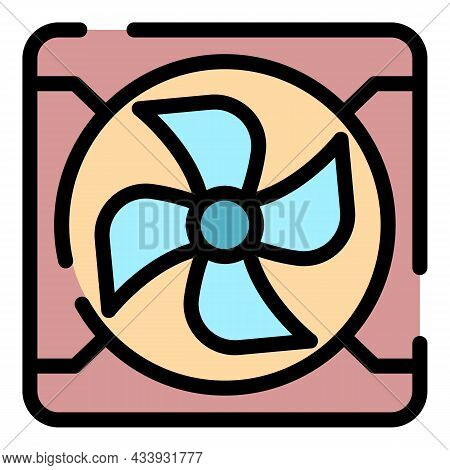 Exhaust Fan Icon. Outline Exhaust Fan Vector Icon Color Flat Isolated